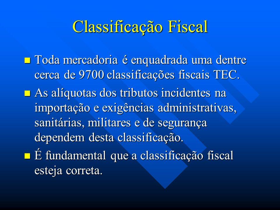 Classificação Fiscal Toda mercadoria é enquadrada uma dentre cerca de 9700 classificações fiscais TEC. Toda mercadoria é enquadrada uma dentre cerca d