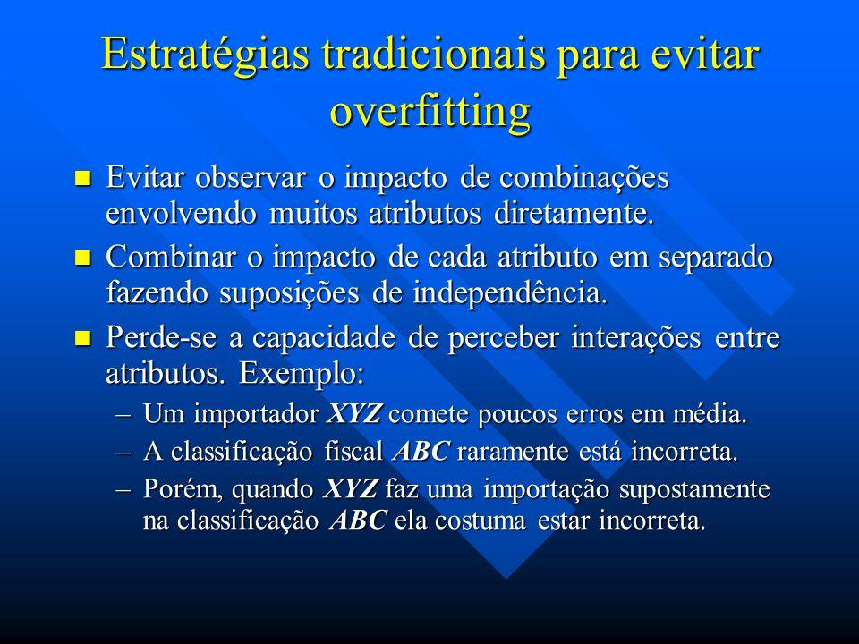 Estratégias tradicionais para evitar overfitting Evitar observar o impacto de combinações envolvendo muitos atributos diretamente. Evitar observar o i