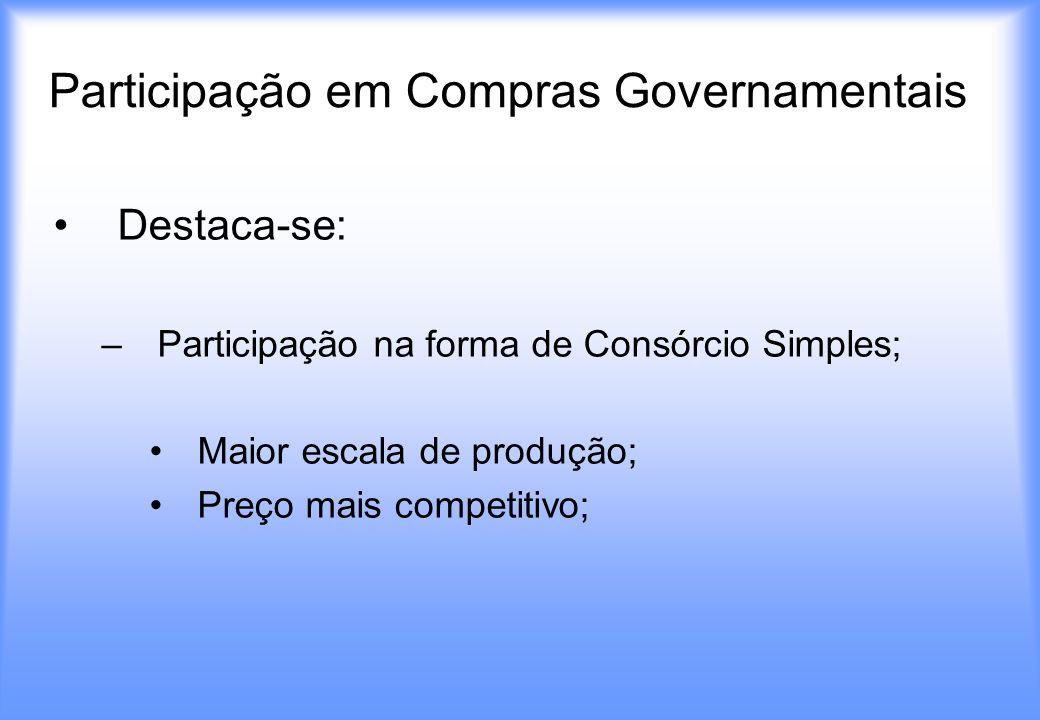 Participação em Compras Governamentais Destaca-se: –Participação na forma de Consórcio Simples; Maior escala de produção; Preço mais competitivo;