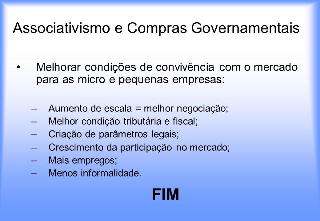 Associativismo e Compras Governamentais Melhorar condições de convivência com o mercado para as micro e pequenas empresas: –A–Aumento de escala = melh