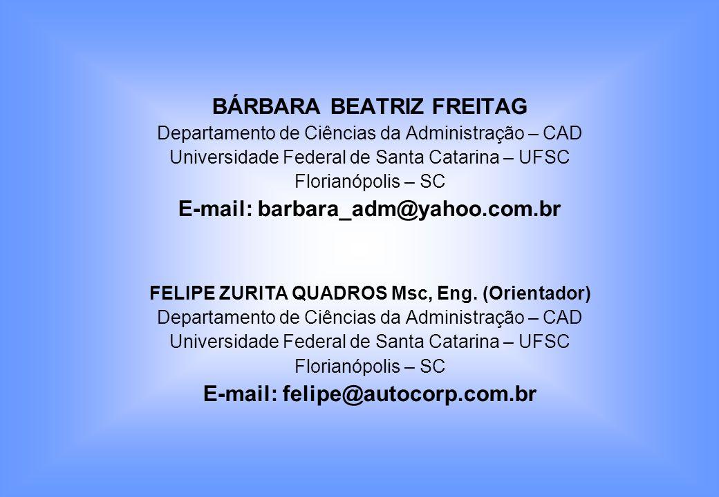BÁRBARA BEATRIZ FREITAG Departamento de Ciências da Administração – CAD Universidade Federal de Santa Catarina – UFSC Florianópolis – SC E-mail: barba