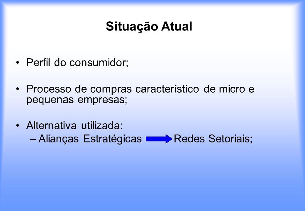 Situação Atual Perfil do consumidor; Processo de compras característico de micro e pequenas empresas; Alternativa utilizada: –Alianças Estratégicas Re