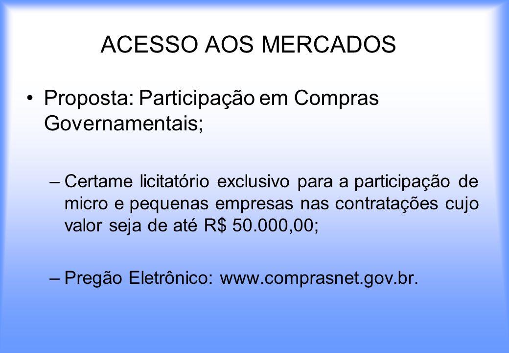 ACESSO AOS MERCADOS Proposta: Participação em Compras Governamentais; –Certame licitatório exclusivo para a participação de micro e pequenas empresas