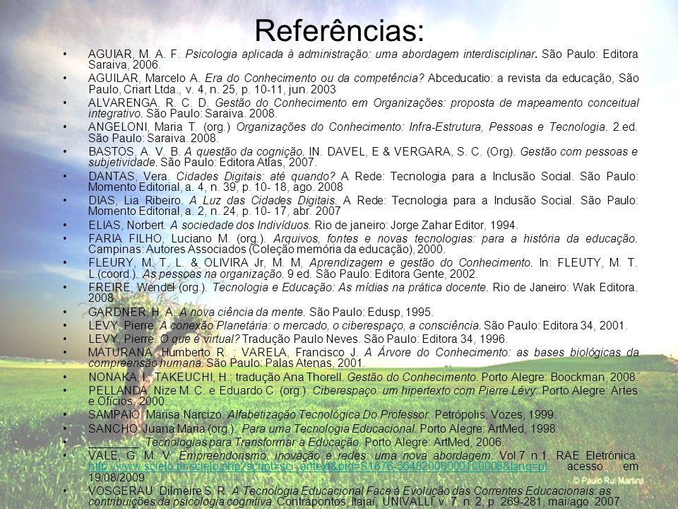 Referências: AGUIAR, M. A. F. Psicologia aplicada à administração: uma abordagem interdisciplinar. São Paulo: Editora Saraiva, 2006. AGUILAR, Marcelo