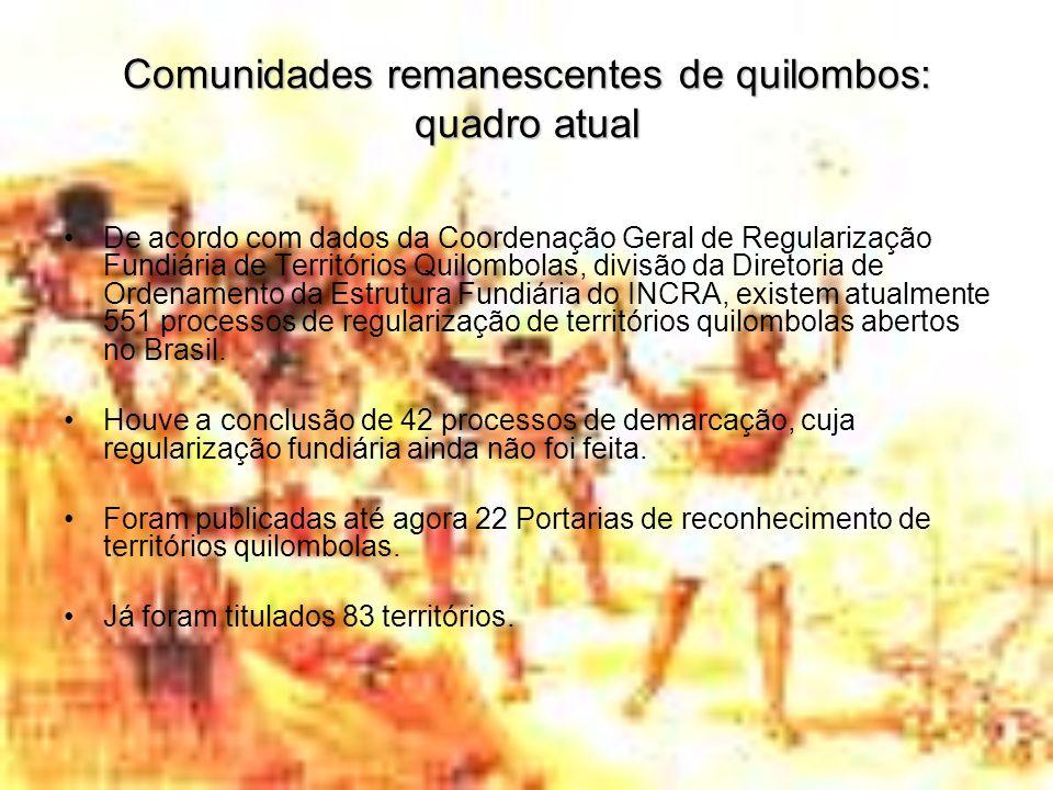 Comunidades remanescentes de quilombos: quadro atual De acordo com dados da Coordenação Geral de Regularização Fundiária de Territórios Quilombolas, d