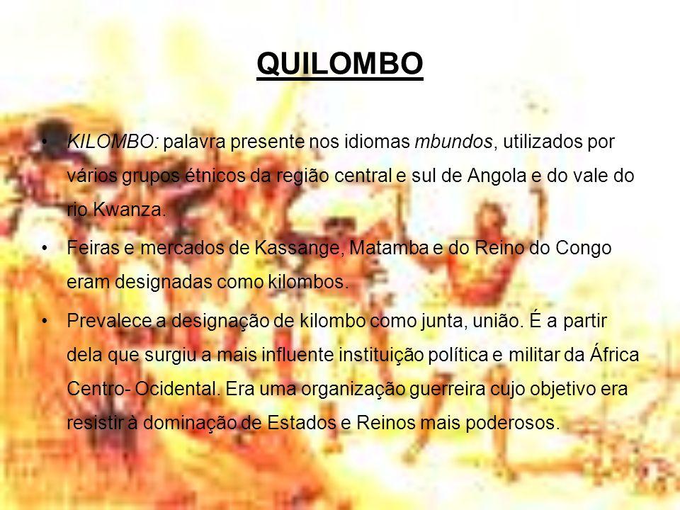 QUILOMBO KILOMBO: palavra presente nos idiomas mbundos, utilizados por vários grupos étnicos da região central e sul de Angola e do vale do rio Kwanza