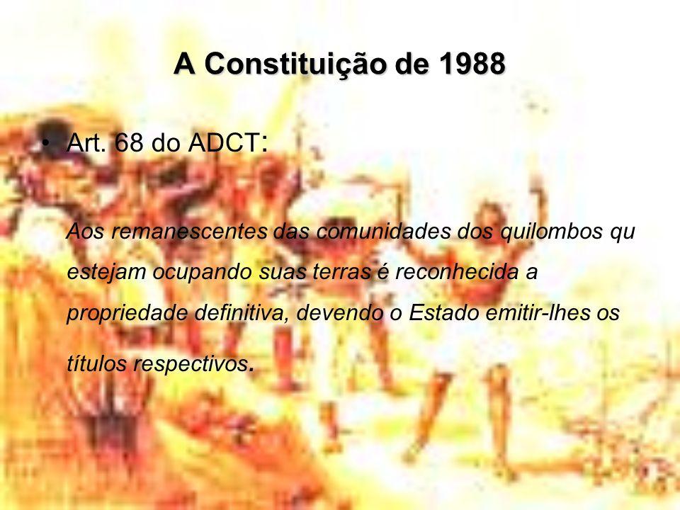 A Constituição de 1988 Art. 68 do ADCT : Aos remanescentes das comunidades dos quilombos qu estejam ocupando suas terras é reconhecida a propriedade d
