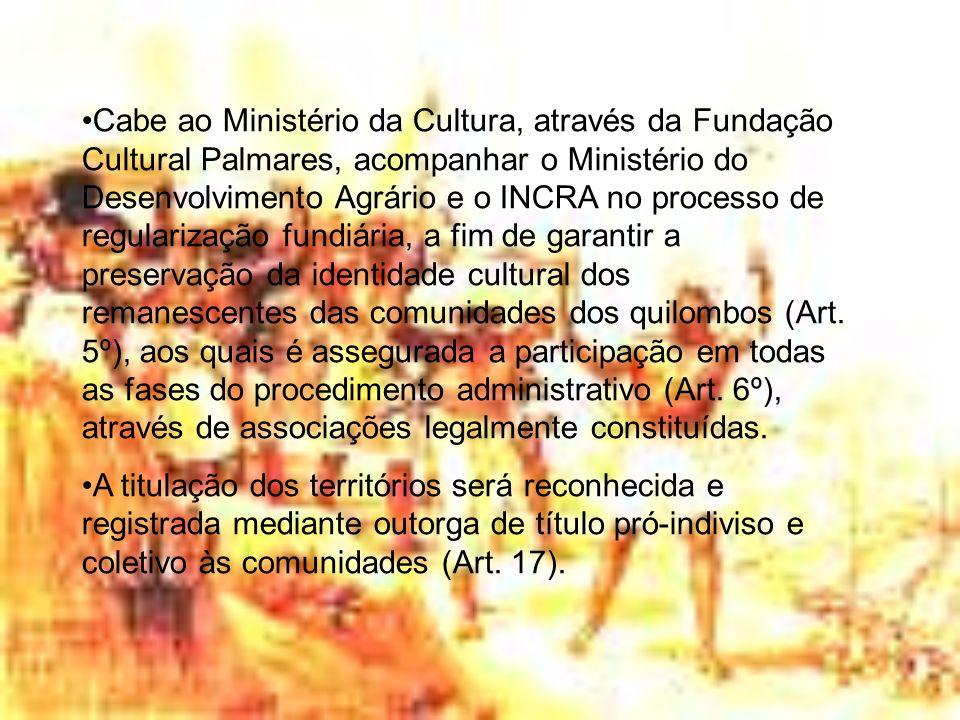 INSTRUÇÃO NORMATIVA Nº 20, DE 19 DE SETEMBRO DE 2005/INCRA Regulamenta o procedimento para identificação, reconhecimento, delimitação, demarcação e desintrusão das terras dos remanescentes de quilombos.