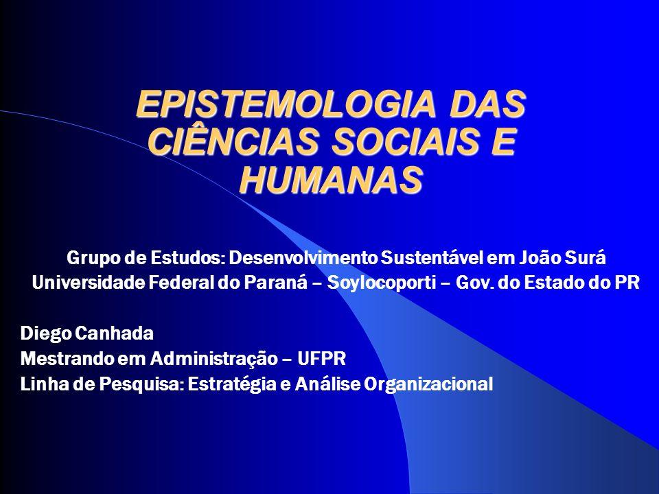 EPISTEMOLOGIA DAS CIÊNCIAS SOCIAIS E HUMANAS Grupo de Estudos: Desenvolvimento Sustentável em João Surá Universidade Federal do Paraná – Soylocoporti
