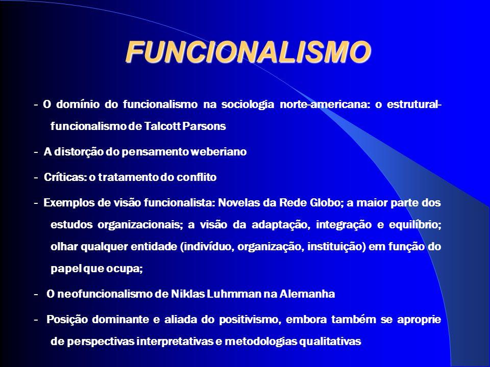 FUNCIONALISMO - O domínio do funcionalismo na sociologia norte-americana: o estrutural- funcionalismo de Talcott Parsons - A distorção do pensamento weberiano - Críticas: o tratamento do conflito - Exemplos de visão funcionalista: Novelas da Rede Globo; a maior parte dos estudos organizacionais; a visão da adaptação, integração e equilíbrio; olhar qualquer entidade (indivíduo, organização, instituição) em função do papel que ocupa; - O neofuncionalismo de Niklas Luhmman na Alemanha - Posição dominante e aliada do positivismo, embora também se aproprie de perspectivas interpretativas e metodologias qualitativas