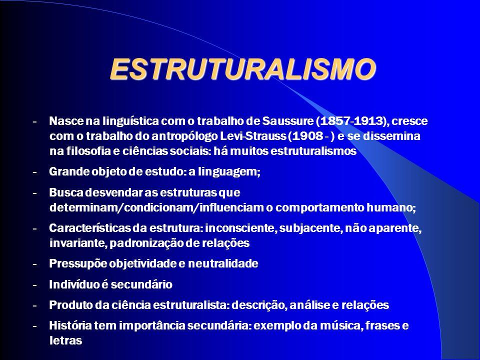 ESTRUTURALISMO - Nasce na linguística com o trabalho de Saussure (1857-1913), cresce com o trabalho do antropólogo Levi-Strauss (1908 - ) e se dissemi