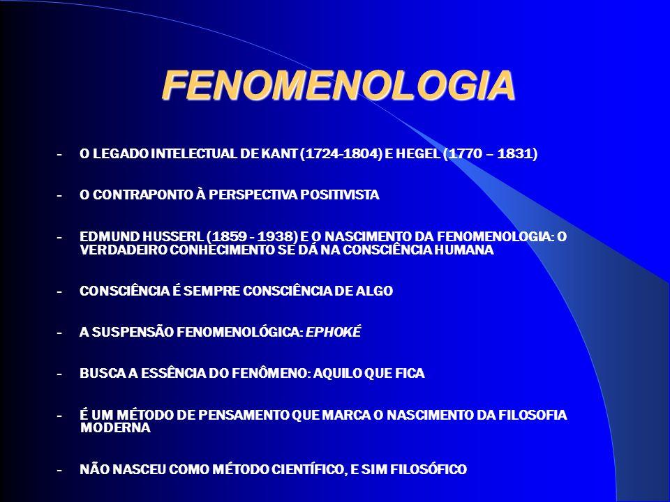 FENOMENOLOGIA - O LEGADO INTELECTUAL DE KANT (1724-1804) E HEGEL (1770 – 1831) - O CONTRAPONTO À PERSPECTIVA POSITIVISTA - EDMUND HUSSERL (1859 - 1938) E O NASCIMENTO DA FENOMENOLOGIA: O VERDADEIRO CONHECIMENTO SE DÁ NA CONSCIÊNCIA HUMANA - CONSCIÊNCIA É SEMPRE CONSCIÊNCIA DE ALGO - A SUSPENSÃO FENOMENOLÓGICA: EPHOKÉ - BUSCA A ESSÊNCIA DO FENÔMENO: AQUILO QUE FICA - É UM MÉTODO DE PENSAMENTO QUE MARCA O NASCIMENTO DA FILOSOFIA MODERNA - NÃO NASCEU COMO MÉTODO CIENTÍFICO, E SIM FILOSÓFICO