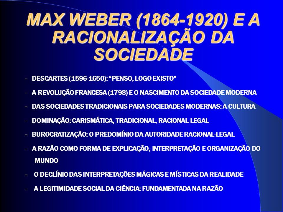 MAX WEBER (1864-1920) E A RACIONALIZAÇÃO DA SOCIEDADE - DESCARTES (1596-1650): PENSO, LOGO EXISTO - A REVOLUÇÃO FRANCESA (1798) E O NASCIMENTO DA SOCIEDADE MODERNA - DAS SOCIEDADES TRADICIONAIS PARA SOCIEDADES MODERNAS: A CULTURA - DOMINAÇÃO: CARISMÁTICA, TRADICIONAL, RACIONAL-LEGAL - BUROCRATIZAÇÃO: O PREDOMÍNIO DA AUTORIDADE RACIONAL-LEGAL - A RAZÃO COMO FORMA DE EXPLICAÇÃO, INTERPRETAÇÃO E ORGANIZAÇÃO DO MUNDO - O DECLÍNIO DAS INTERPRETAÇÕES MÁGICAS E MÍSTICAS DA REALIDADE - A LEGITIMIDADE SOCIAL DA CIÊNCIA: FUNDAMENTADA NA RAZÃO
