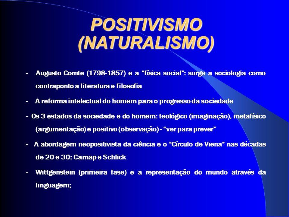 POSITIVISMO (NATURALISMO) - Augusto Comte (1798-1857) e a física social: surge a sociologia como contraponto a literatura e filosofia - A reforma inte