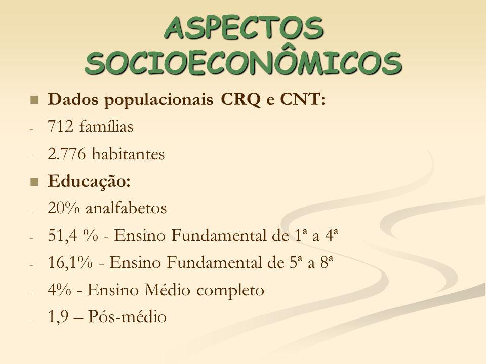 ASPECTOS SOCIOECONÔMICOS Dados populacionais CRQ e CNT: - - 712 famílias - - 2.776 habitantes Educação: - - 20% analfabetos - - 51,4 % - Ensino Fundam