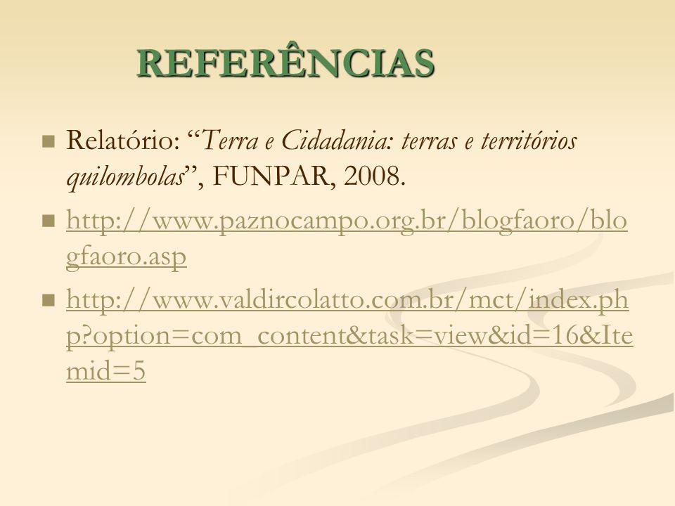 REFERÊNCIAS Relatório: Terra e Cidadania: terras e territórios quilombolas, FUNPAR, 2008. http://www.paznocampo.org.br/blogfaoro/blo gfaoro.asp http:/