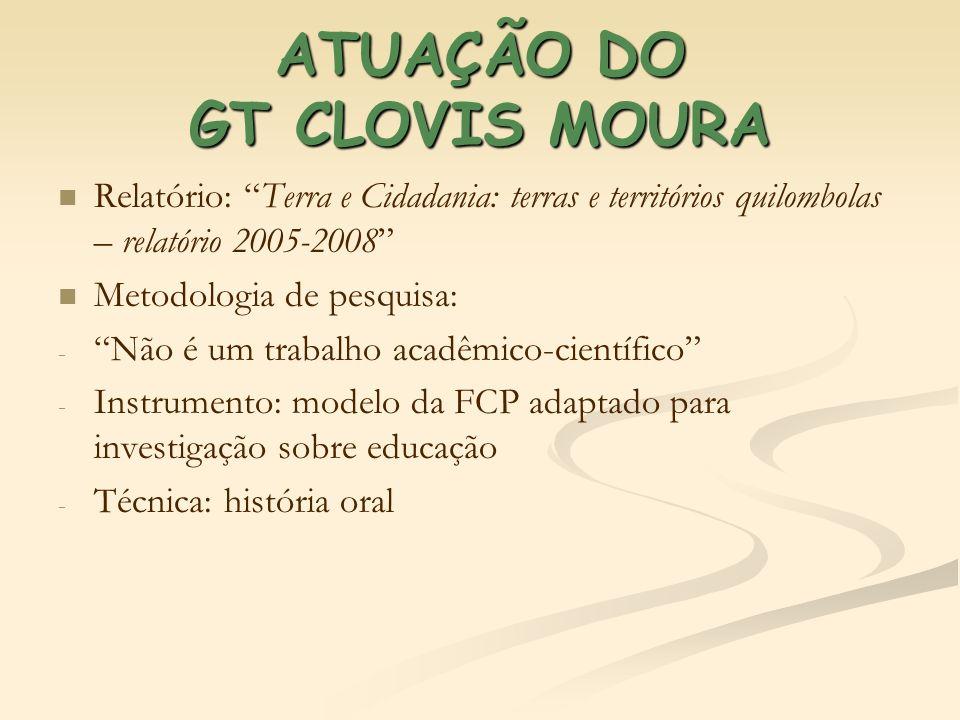 ATUAÇÃO DO GT CLOVIS MOURA Relatório: Terra e Cidadania: terras e territórios quilombolas – relatório 2005-2008 Metodologia de pesquisa: - - Não é um