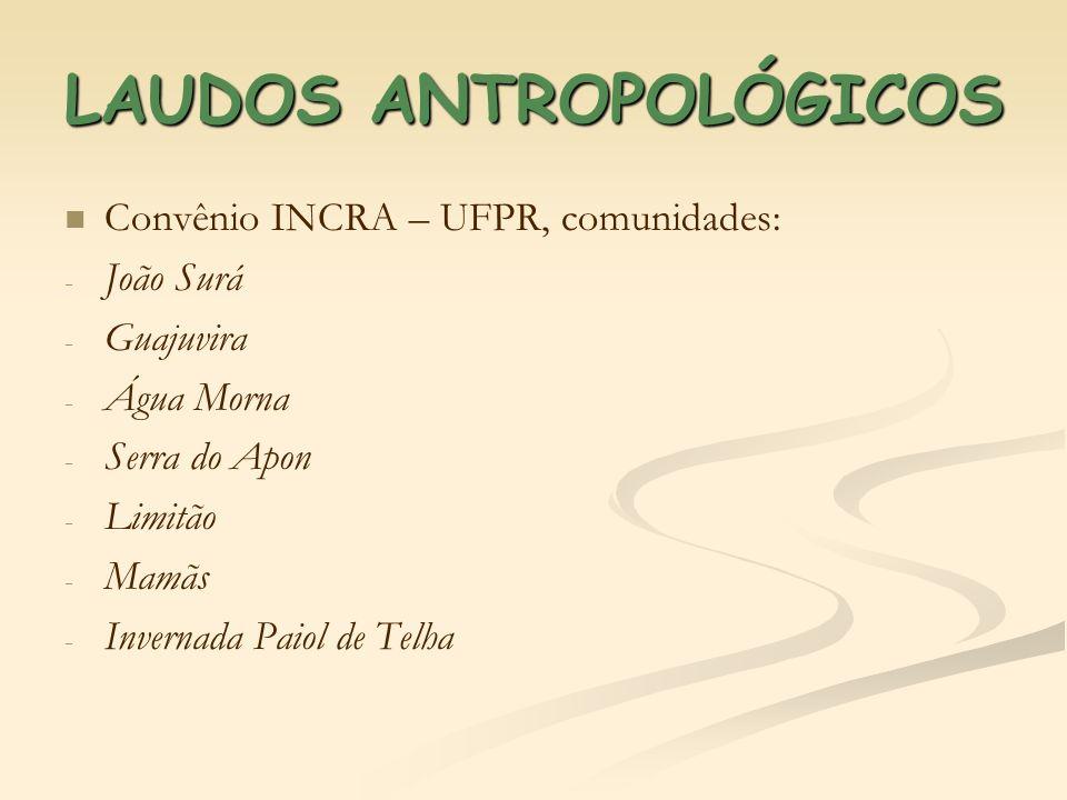 LAUDOS ANTROPOLÓGICOS Convênio INCRA – UFPR, comunidades: - - João Surá - - Guajuvira - - Água Morna - - Serra do Apon - - Limitão - - Mamãs - - Inver