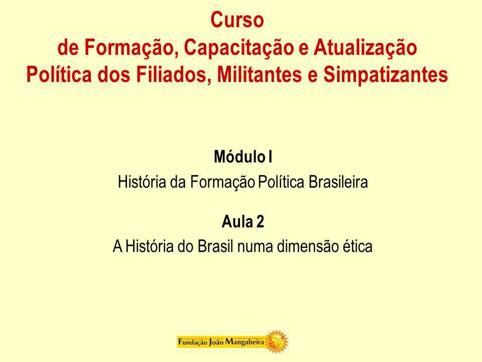 Curso de Formação, Capacitação e Atualização Política dos Filiados, Militantes e Simpatizantes Módulo I História da Formação Política Brasileira Aula