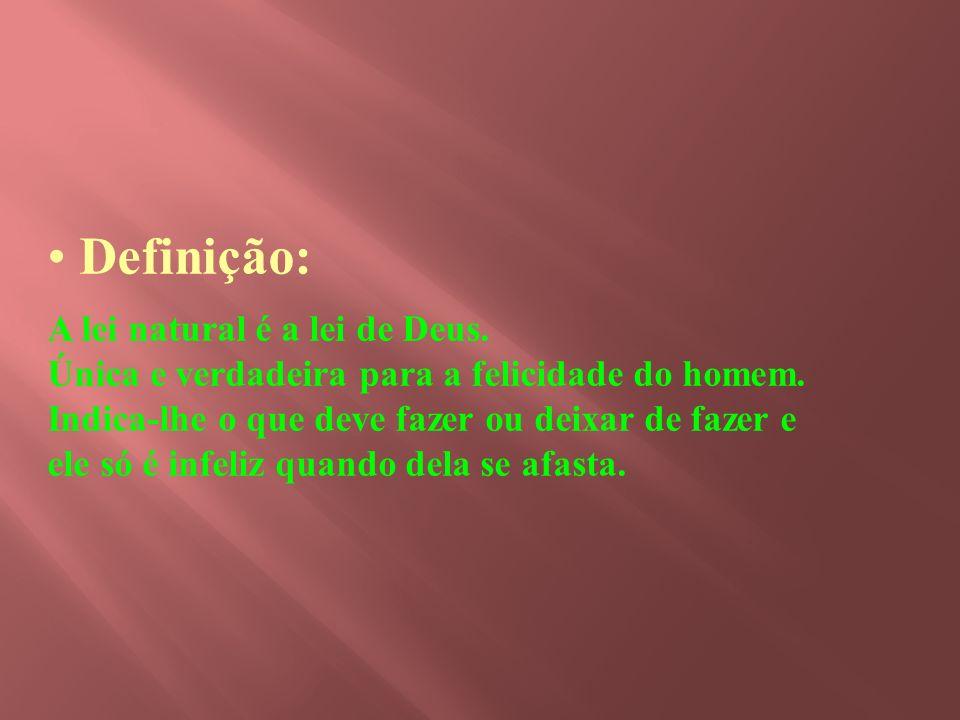 Objetivo específico - definir lei natural; - identificar as suas características fundamentais; - classificação da lei natural, segundo a Codificação E