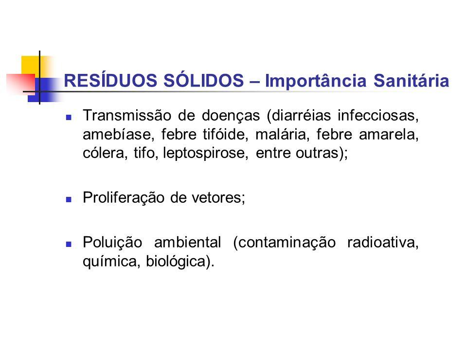 RESÍDUOS SÓLIDOS – Importância Sanitária Transmissão de doenças (diarréias infecciosas, amebíase, febre tifóide, malária, febre amarela, cólera, tifo,