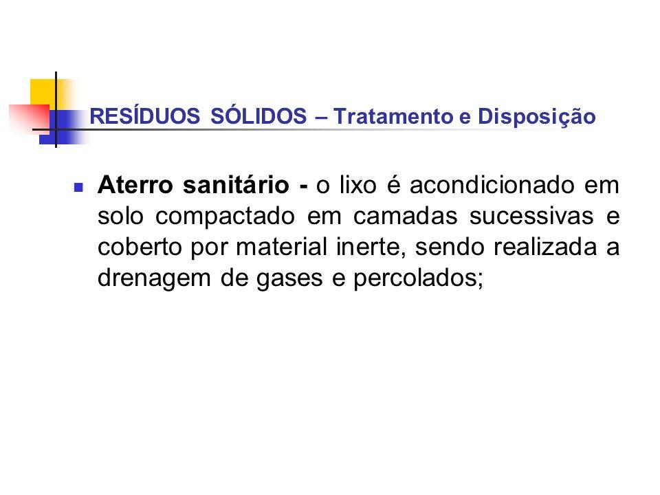 RESÍDUOS SÓLIDOS – Tratamento e Disposição Aterro sanitário - o lixo é acondicionado em solo compactado em camadas sucessivas e coberto por material i
