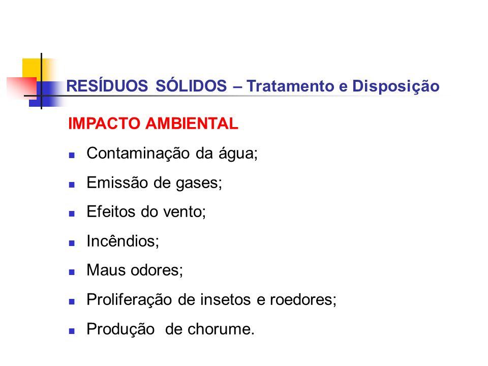 RESÍDUOS SÓLIDOS – Tratamento e Disposição IMPACTO AMBIENTAL Contaminação da água; Emissão de gases; Efeitos do vento; Incêndios; Maus odores; Prolife