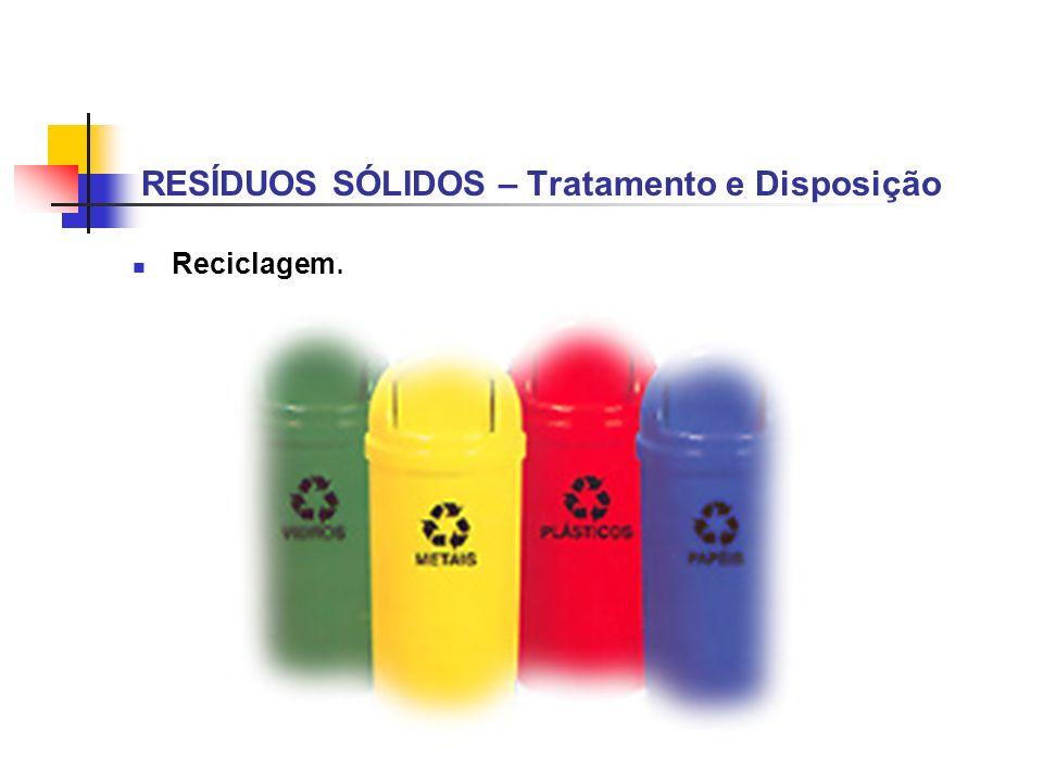 RESÍDUOS SÓLIDOS – Tratamento e Disposição Reciclagem.