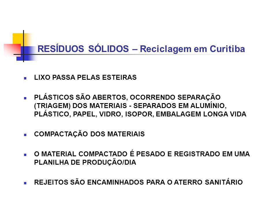 LIXO PASSA PELAS ESTEIRAS PLÁSTICOS SÃO ABERTOS, OCORRENDO SEPARAÇÃO (TRIAGEM) DOS MATERIAIS - SEPARADOS EM ALUMÍNIO, PLÁSTICO, PAPEL, VIDRO, ISOPOR,