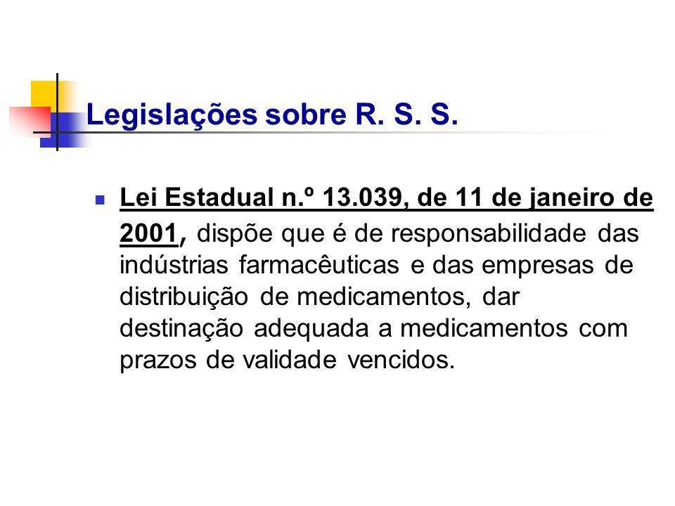 Lei Estadual n.º 13.039, de 11 de janeiro de 2001, dispõe que é de responsabilidade das indústrias farmacêuticas e das empresas de distribuição de med