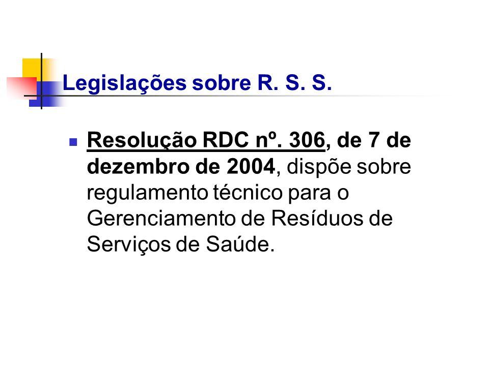 Resolução RDC nº. 306, de 7 de dezembro de 2004, dispõe sobre regulamento técnico para o Gerenciamento de Resíduos de Serviços de Saúde. Legislações s