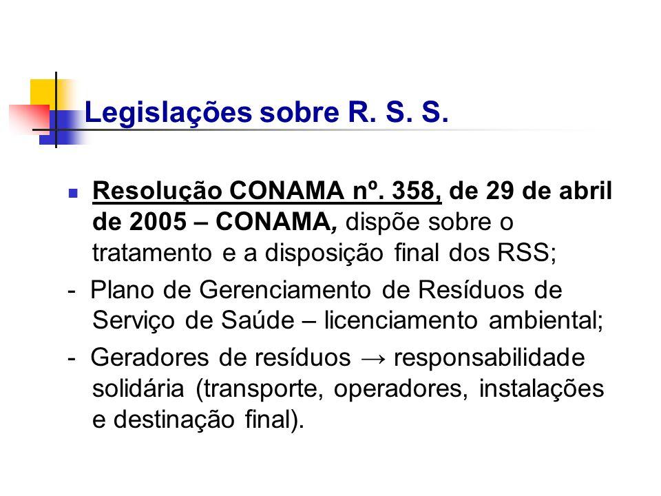 Resolução CONAMA nº. 358, de 29 de abril de 2005 – CONAMA, dispõe sobre o tratamento e a disposição final dos RSS; - Plano de Gerenciamento de Resíduo