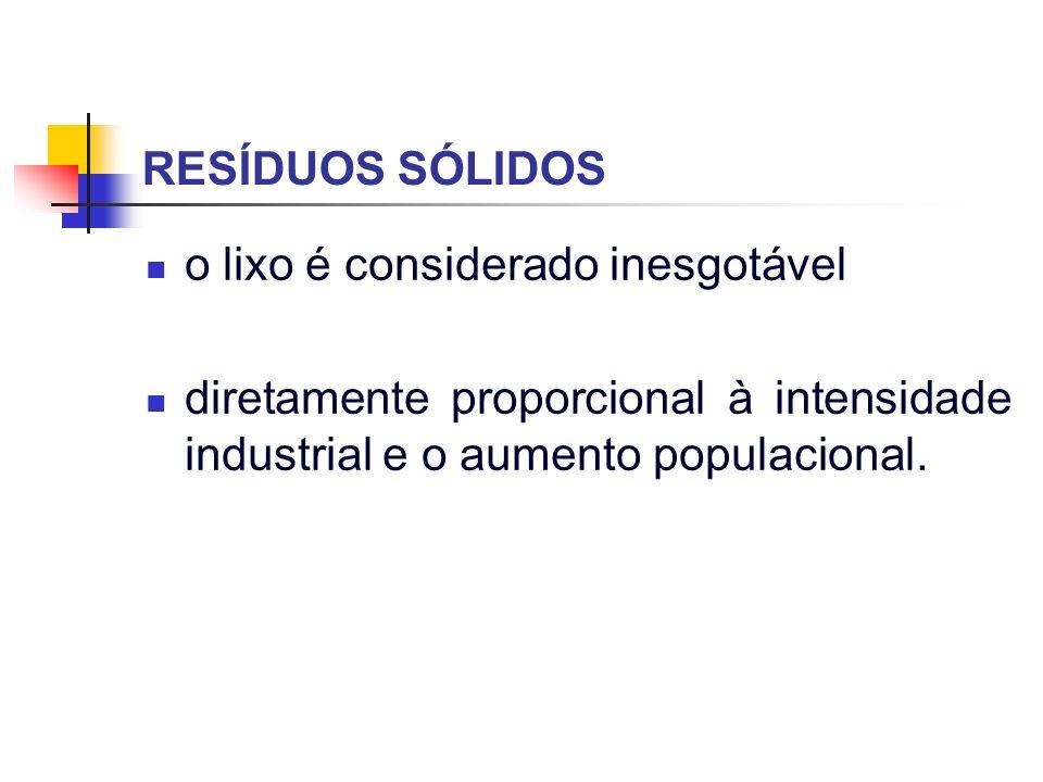 População urbana (alta densidade populacional); Desenvolvimento tecnológico consumista (progresso (?) tecnológico); Crescente concentração de resíduos sólidos RESÍDUOS SÓLIDOS