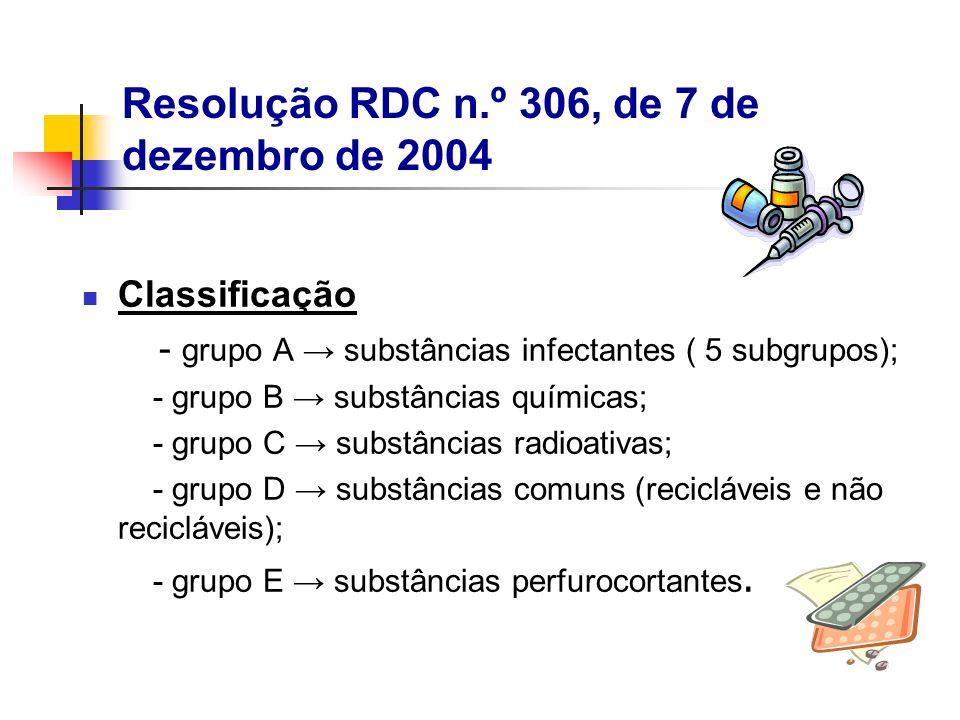 Classificação - grupo A substâncias infectantes ( 5 subgrupos); - grupo B substâncias químicas; - grupo C substâncias radioativas; - grupo D substânci