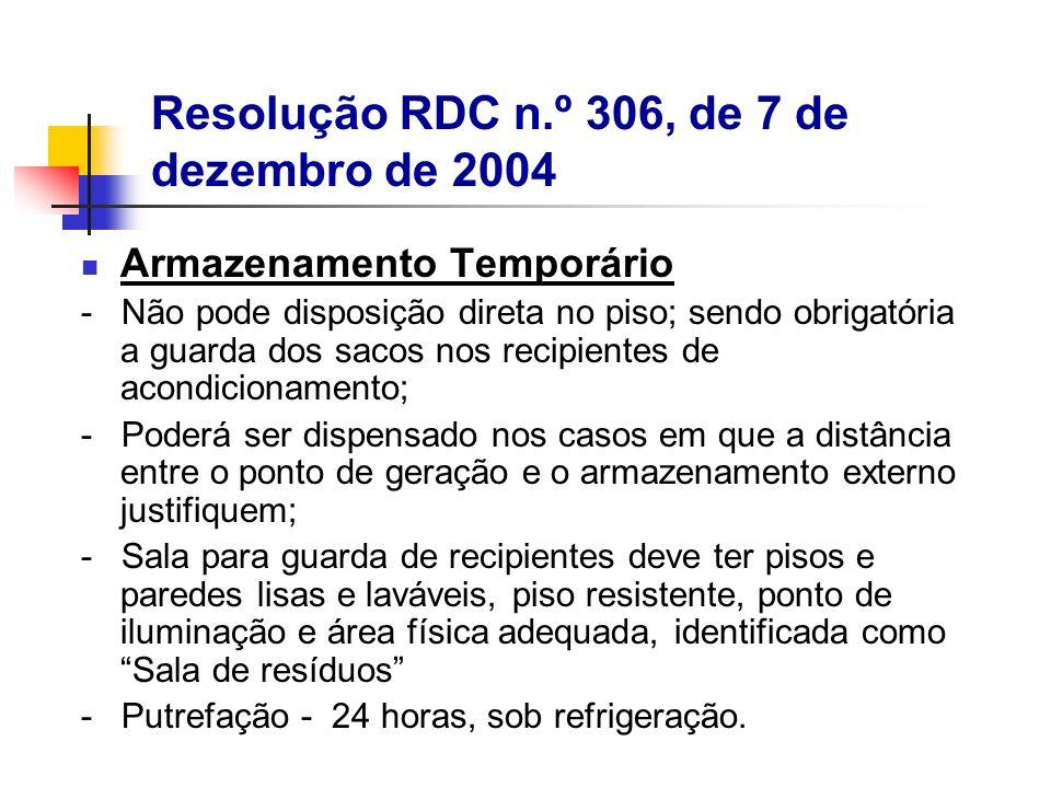 Armazenamento Temporário - Não pode disposição direta no piso; sendo obrigatória a guarda dos sacos nos recipientes de acondicionamento; - Poderá ser