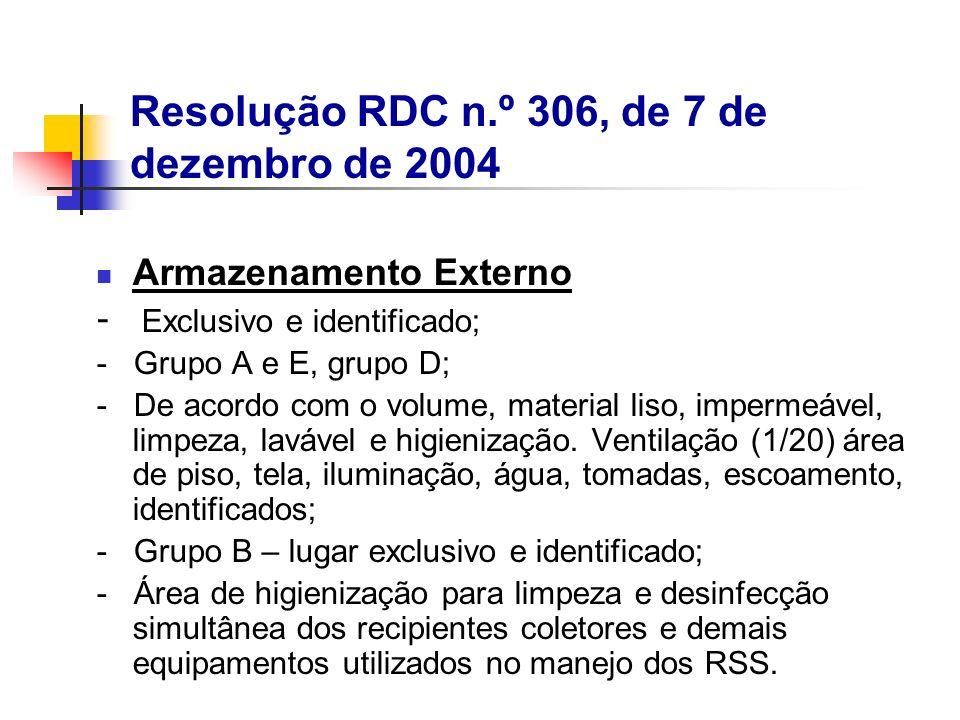 Armazenamento Externo - Exclusivo e identificado; - Grupo A e E, grupo D; - De acordo com o volume, material liso, impermeável, limpeza, lavável e hig