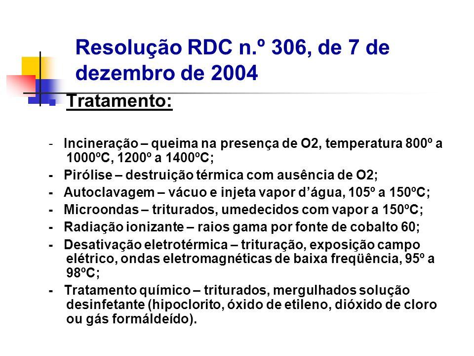 Tratamento: - Incineração – queima na presença de O2, temperatura 800º a 1000ºC, 1200º a 1400ºC; - Pirólise – destruição térmica com ausência de O2; -