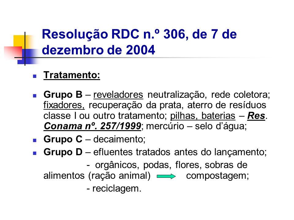 Tratamento: Grupo B – reveladores neutralização, rede coletora; fixadores, recuperação da prata, aterro de resíduos classe I ou outro tratamento; pilh