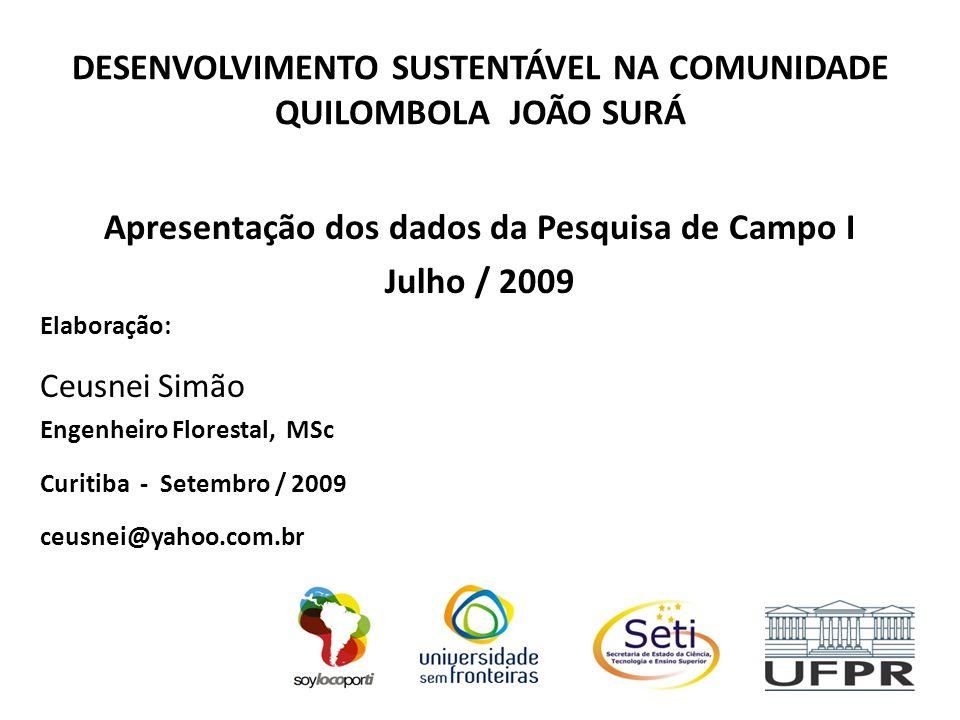 DESENVOLVIMENTO SUSTENTÁVEL NA COMUNIDADE QUILOMBOLA JOÃO SURÁ Apresentação dos dados da Pesquisa de Campo I Julho / 2009 Elaboração: Ceusnei Simão En