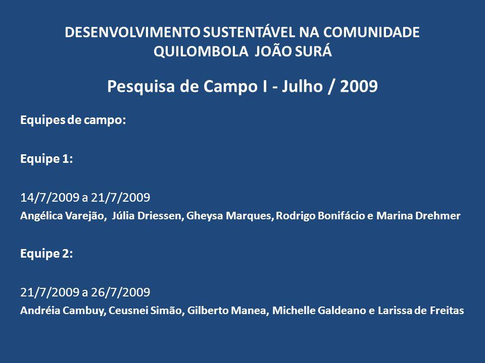 DESENVOLVIMENTO SUSTENTÁVEL NA COMUNIDADE QUILOMBOLA JOÃO SURÁ Pesquisa de Campo I - Julho / 2009 Domicílios Domicílios visitados32 Domicílios entrevistados (n)30 Domicílios por região (n = 30) Total% Domicílios na Sede1343,33 Domicílios no Guaracuí1136,67 Domicílios no Poço Grande516,67 Domicílios no Sertão13,33 Total de domicílios30100