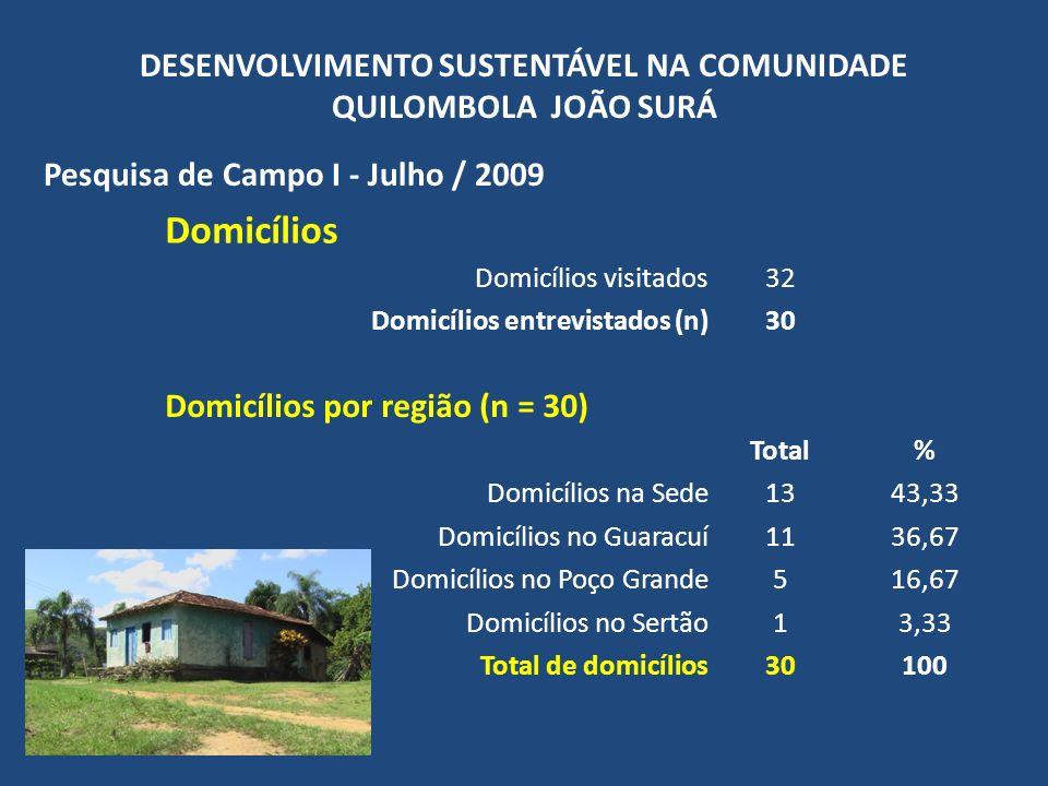 DESENVOLVIMENTO SUSTENTÁVEL NA COMUNIDADE QUILOMBOLA JOÃO SURÁ Pesquisa de Campo I - Julho / 2009 Demografia Nº total de pessoas101 Média pessoas/residência3,37 Número de pessoas por domicílio Total% Domicílios com 1 pessoa516,67 Domicílios com 2 pessoas413,33 Domicílios com 3 pessoas1136,67 Domicílios com 4 pessoas310,00 Domicílios com 5 pessoas26,67 Domicílios com 6 pessoas413,33 Domicílios com 7 pessoas13,33 Total de domicílios (n)30100