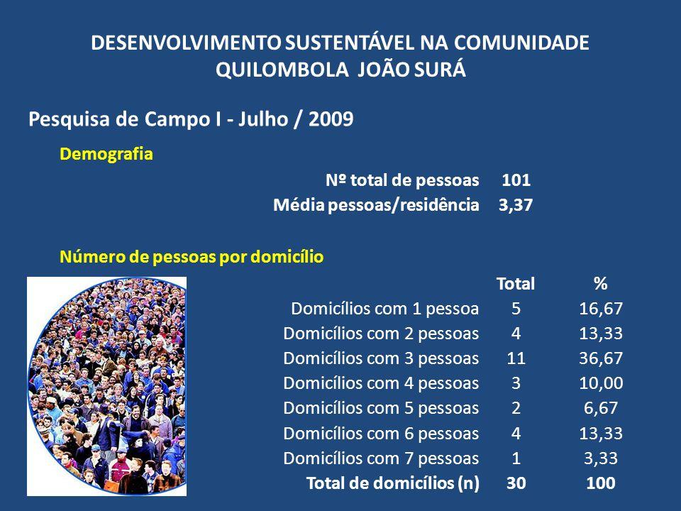 DESENVOLVIMENTO SUSTENTÁVEL NA COMUNIDADE QUILOMBOLA JOÃO SURÁ Pesquisa de Campo I - Julho / 2009 Pessoas por região Total% Sede4746,53 Guaracuí3635,64 Poço Grande1615,84 Sertão10,99 Total101100 Distribuição de gênero Total% Homens5655,45 Mulheres4544,55 Total101100