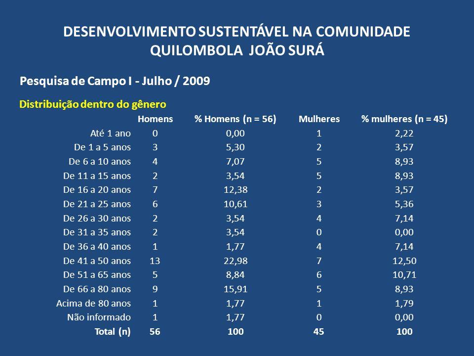 DESENVOLVIMENTO SUSTENTÁVEL NA COMUNIDADE QUILOMBOLA JOÃO SURÁ Pesquisa de Campo I - Julho / 2009 Distribuição dentro do gênero Homens% Homens (n = 56