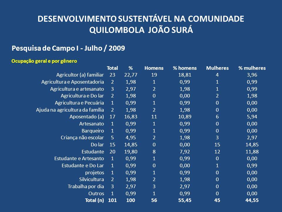 DESENVOLVIMENTO SUSTENTÁVEL NA COMUNIDADE QUILOMBOLA JOÃO SURÁ Pesquisa de Campo I - Julho / 2009 Escolaridade geral Total% Ensino Fundamental Completo11,61 Incompleto2337,10 Ensino Médio Completo711,29 Incompleto711,29 Ensino Superior Completo00,00 Incompleto11,61 Não alfabetizado1625,81 EJA ou similar23,23 Criança não escolar5 Total (n)62100 Não informada39 Total101