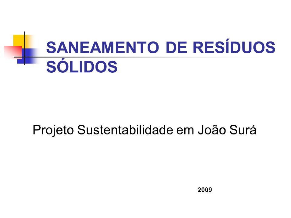 SANEAMENTO DE RESÍDUOS SÓLIDOS Projeto Sustentabilidade em João Surá 2009