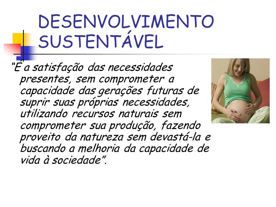 DESENVOLVIMENTO SUSTENTÁVEL É a satisfação das necessidades presentes, sem comprometer a capacidade das gerações futuras de suprir suas próprias neces