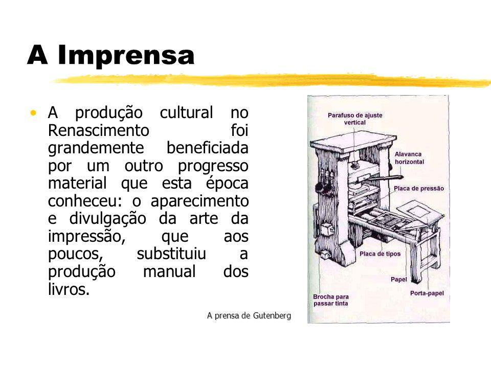 A Imprensa A produção cultural no Renascimento foi grandemente beneficiada por um outro progresso material que esta época conheceu: o aparecimento e d