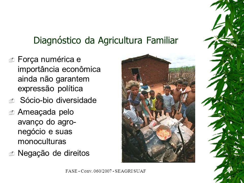 FASE - Conv. 060/2007 - SEAGRI SUAF Diagnóstico da Agricultura Familiar Força numérica e importância econômica ainda não garantem expressão política S