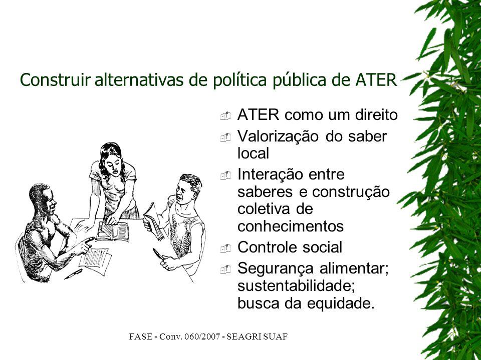 FASE - Conv. 060/2007 - SEAGRI SUAF Construir alternativas de política pública de ATER ATER como um direito Valorização do saber local Interação entre