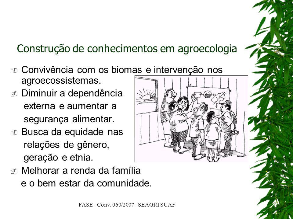 FASE - Conv. 060/2007 - SEAGRI SUAF Construção de conhecimentos em agroecologia Convivência com os biomas e intervenção nos agroecossistemas. Diminuir